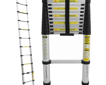 Charles Bentley 3.2M Telescopic Extendable Extension Ladder With EN131-1, EN131-2, EN131-3 Certificate