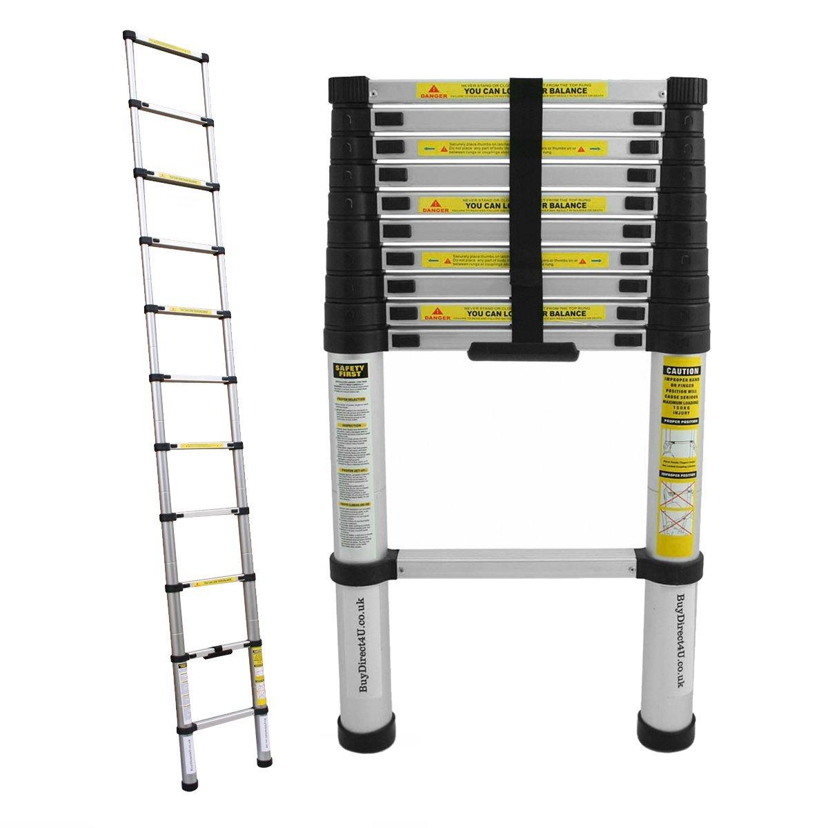 Charles Bentley 3.2M Telescopic Extendable Extension Ladder With EN131-1, EN131-2, EN131-3 Certificate