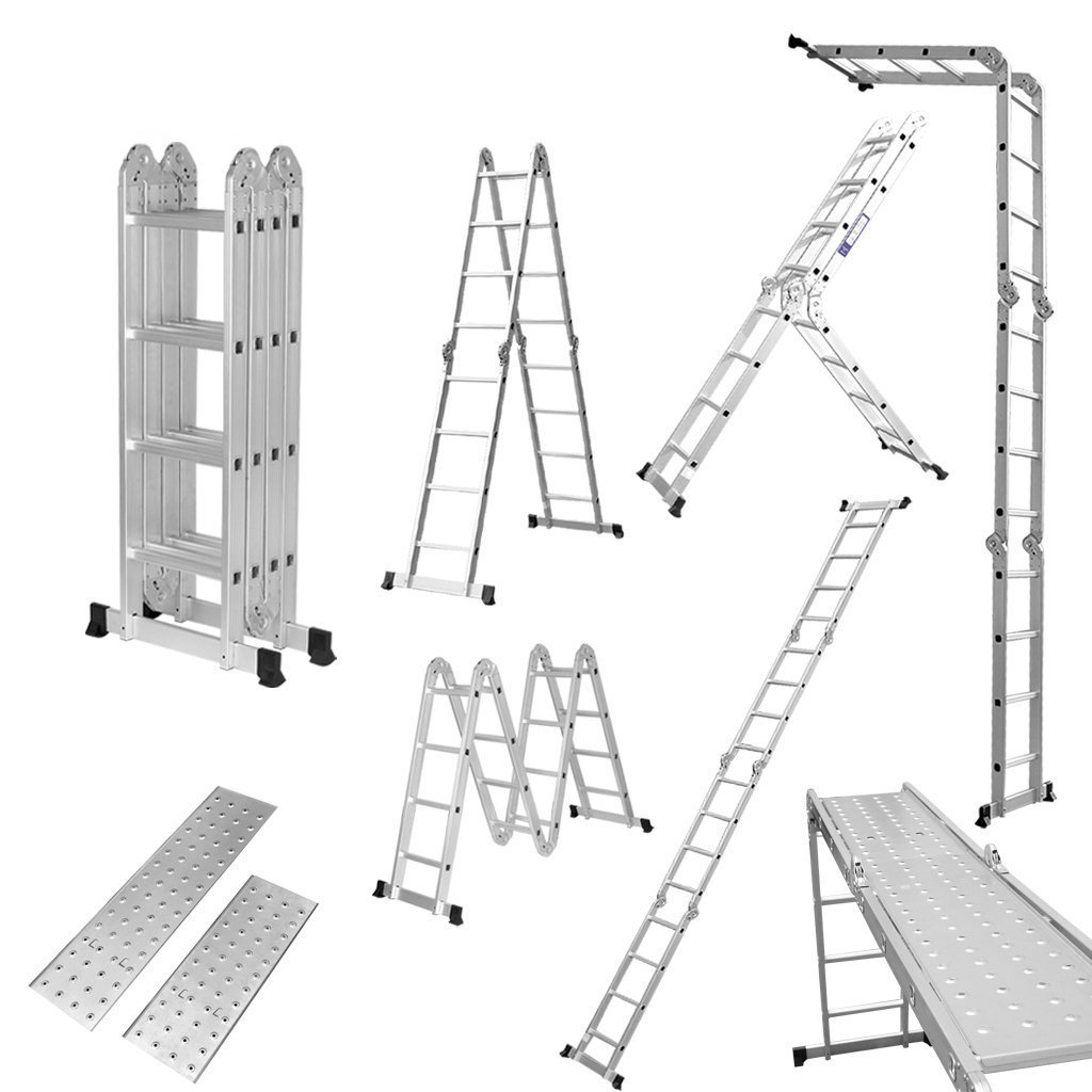 Finether 15.4 FT Extendable Aluminium Folding Ladder with Safety Locking Hinges and 2 Panels