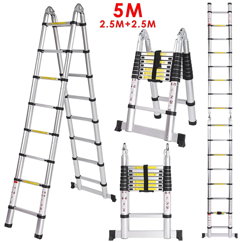 WORHAN® 5m (16' 4'') Double Telescopic Ladder